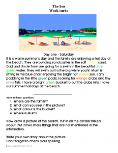 The sea workcards are in the form of a diary. Students learn this new genre through reading of the activities undertaken over a period of ten days. These work cards are language based with supporting and extension activities.